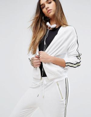 Juicy Couture Куртка с полосками в спортивном стиле Black Label. Цвет: белый