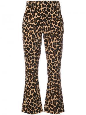 Расклешенные брюки с гепардовым принтом Frame Denim. Цвет: многоцветный