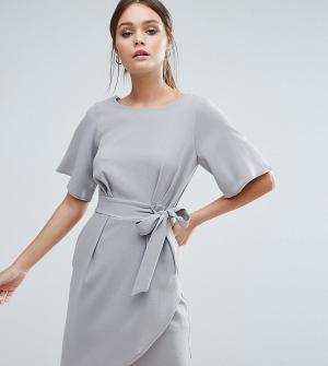 Closet London Платье с рукавами‑кимоно и поясом. Цвет: серый