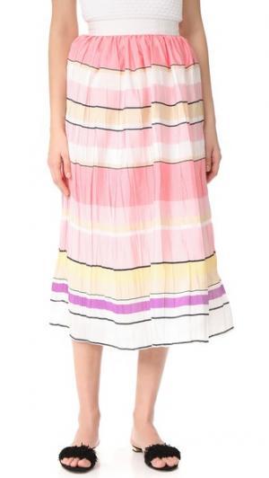 Миди-юбка в полоску Monique Lhuillier. Цвет: мульти
