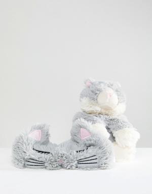 River Island Набор из грелки-кошки и маски для сна. Цвет: мульти