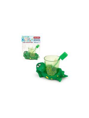 Подставка со стаканом для зубных щеток КРОКОДИЛЬЧИКИ VALIANT. Цвет: зеленый