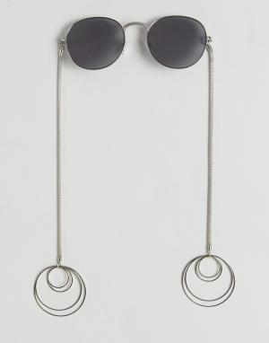 ASOS Круглые солнцезащитные очки с серьгами-кольцами. Цвет: серебряный