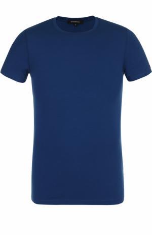 Хлопковая футболка с круглым вырезом Ermenegildo Zegna. Цвет: синий
