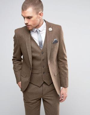 Harry Brown Твидовый пиджак с добавлением шерсти. Цвет: рыжий