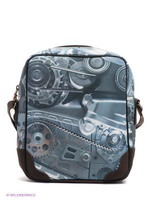 Сумка Двигатель Kawaii Factory. Цвет: серо-голубой, коричневый