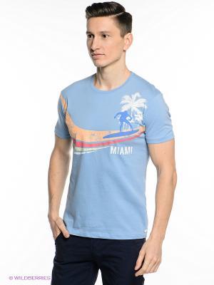Футболка Oodji. Цвет: голубой