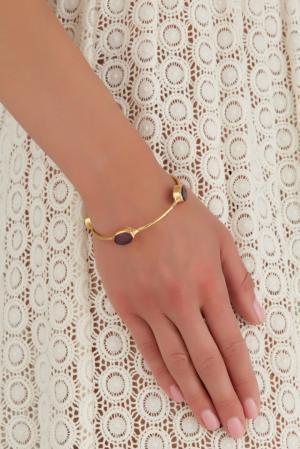 Браслет из латуни с аметистом Sylvia Toledano. Цвет: золотой