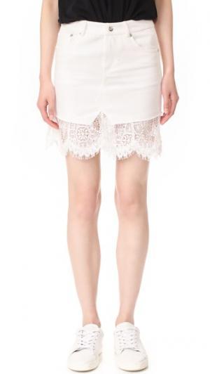 Короткая комбинированная кружевная юбка McQ - Alexander McQueen. Цвет: золотой
