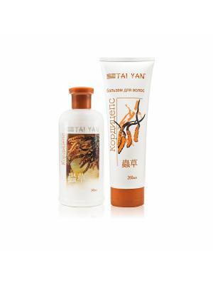 Набор шампунь + бальзам для волос Кордицепс, оздоравливающий, поврежденных волос. TAI YAN. Цвет: белый