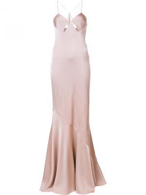 Вечернее платье на тонких лямках Galvan. Цвет: телесный