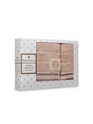 Комплект полотенец махровых гладкокрашеных с бордюром Sweety Barbara, 50х90см-1шт, 70*130см-1шт. Василиса. Цвет: светло-коричневый