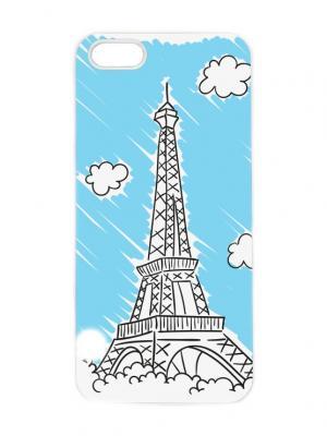 Чехол для iPhone 5/5s Эйфелева в облаках Арт. IP5-201 Chocopony. Цвет: голубой, белый, черный