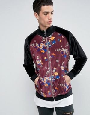 ASOS Свободная спортивная куртка из велюра с цветочным принтом. Цвет: черный