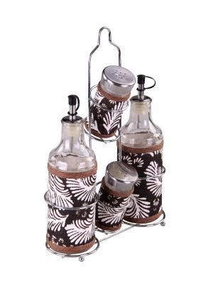Набор для специй на металлической подставке 4 предмета PATRICIA. Цвет: коричневый