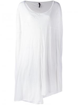 Удлиненная рваная футболка Unravel Project. Цвет: белый