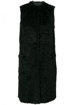 Длинная куртка с отделкой из цигейки Salvatore Santoro. Цвет: чёрный