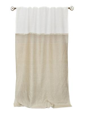 Штора льняная Грета с кружевом 145*260 IZKOMODA. Цвет: серый, белый