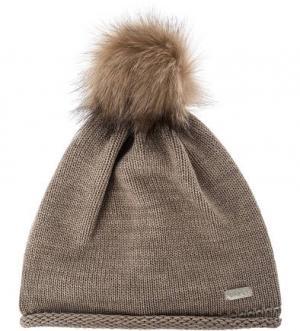 Коричневая шапка с помпоном Capo. Цвет: коричневый