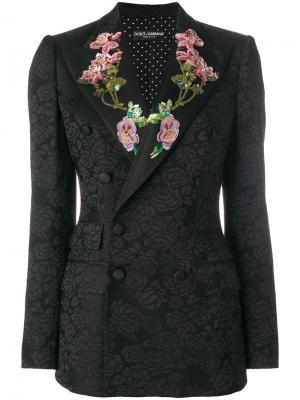Пиджак с цветочным узором из пайеток Dolce & Gabbana. Цвет: чёрный