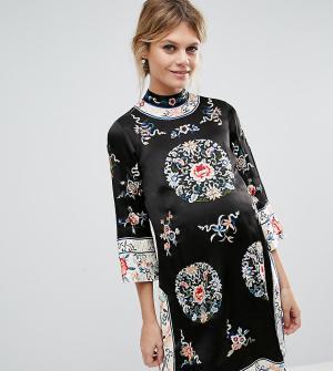ASOS Maternity Цельнокройное платье для беременных с вышивкой. Цвет: мульти