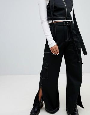 The Ragged Priest Широкие хлопковые брюки с декоративной строчкой и D-кольцом на ремне T. Цвет: черный