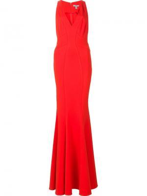 Длинное платье Sirena Zac Posen. Цвет: красный