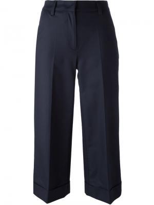 Укороченные широкие брюки Moncler. Цвет: синий