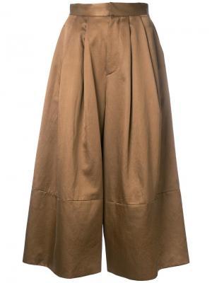 Укороченные широкие брюки Cityshop. Цвет: коричневый
