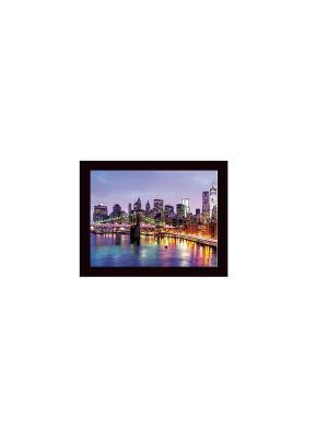 Мост над Гудзоном Картина в раме 40х50 PROFFI. Цвет: сиреневый, черный, голубой