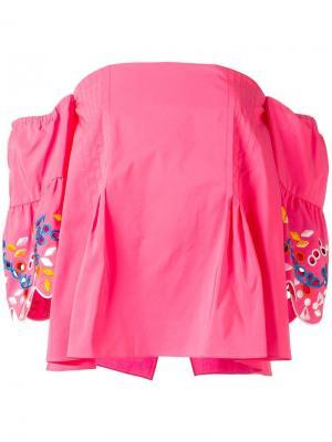 Топ с вышивкой Peter Pilotto. Цвет: розовый и фиолетовый