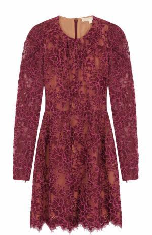 Приталенное кружевное мини-платье с длинным рукавом MICHAEL Kors. Цвет: розовый