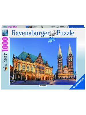 Пазл Бременская ратуша,1000 шт Ravensburger. Цвет: синий
