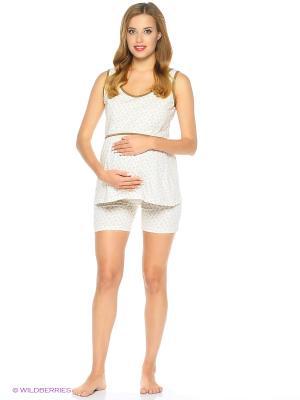 Комплект домашней одежды для беременных и кормления ( майка, шорты) 40 недель. Цвет: бежевый