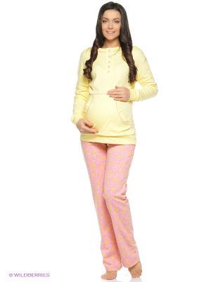 Домашний комплект для беременных (лонгслив, брюки) Hunny Mammy. Цвет: желтый, розовый