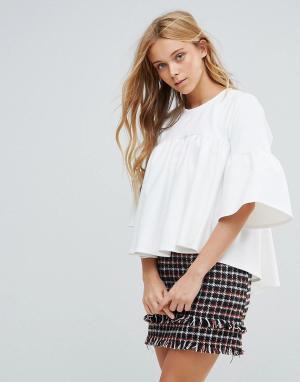 Closet London Блузка с рукавами клеш. Цвет: белый