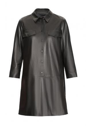 Кожаное платье-рубашка 157969 Izeta. Цвет: черный