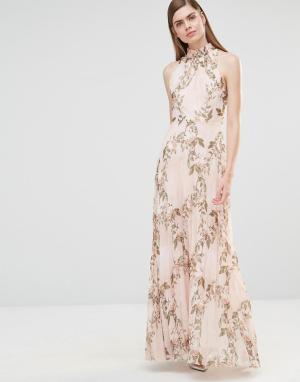 True Violet Плиссированное платье макси с принтом роз и высокой горловиной Vi. Цвет: мульти