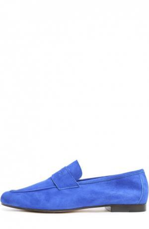 Лоферы из мягкой замши Moka Da Due. Цвет: васильковый