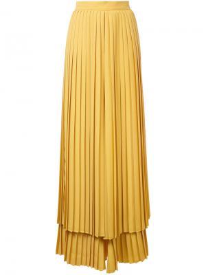 Плиссированные многослойные брюки Sara Battaglia. Цвет: жёлтый и оранжевый