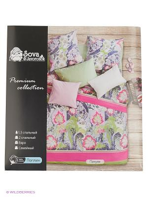 Постельное белье Евро поплин Sova and Javoronok. Цвет: розовый, зеленый, черный