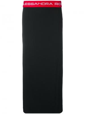 Юбка-карандаш с логотипом на резинке Alessandra Rich. Цвет: чёрный
