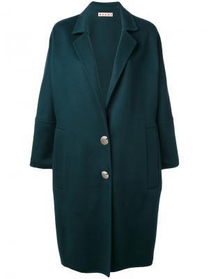 Пальто свободного кроя в форме овального кокона Marni. Цвет: зелёный