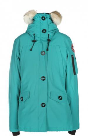Утепленная куртка с капюшоном и меховой отделкой Canada Goose. Цвет: бирюзовый