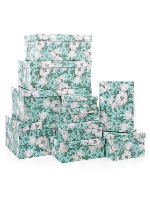 Набор из 10 прямоугольных коробок 12*6,5*4-30,5*20*13см, Анаис VELD-CO. Цвет: бирюзовый