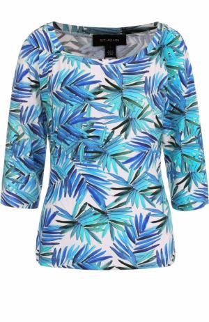 Топ с укороченным рукавом и ярким принтом St. John. Цвет: голубой
