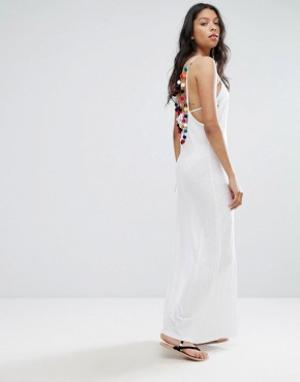 Pitusa Пляжное платье с помпонами. Цвет: белый