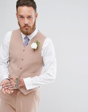 ASOS Светло-розовый приталенный жилет с добавлением шерсти Wedding. Цвет: розовый