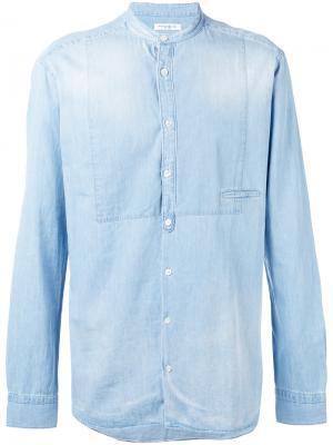Джинсовая рубашка с потертостями Paolo Pecora. Цвет: синий