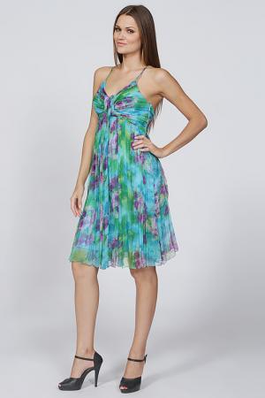 Воздушное платье с открытым верхом Olinvnas. Цвет: голубой